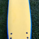 Surfboard Hire Yellow Soft Surfboard With Blue Edges