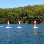 Group Standing On Individual Paddle Boards Paddling On Water