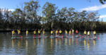 Group Of People Standing On Paddle Boards In A Row On The Water With Tree Lined Bank In The Background